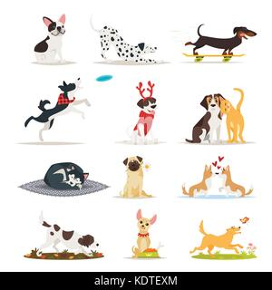 Vector cartoon style set of different dog breeds. Dogs sitting, eating and running. - Stock Photo