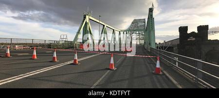 Silver Jubilee Bridge, 'Runcorn-Widnes Bridge' or Runcorn Bridge From West - Stock Photo