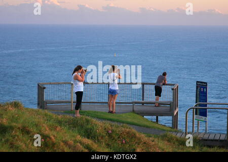 Two women taking photos from a look out over the ocean ,looking for whales. - Stock Photo