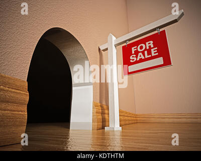 For sale signboard in front of mousehole. 3D illustration. - Stock Photo
