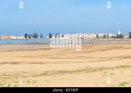 Essaouira, Morocco - December 31, 2016: View on the port and the beach - Stock Photo