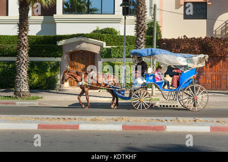 Essaouira, Morocco - December 31, 2016: Moroccan Horse-drawn carriage on the street. It is local transport - Stock Photo