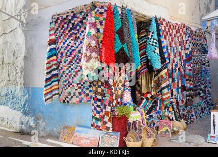 Essaouira, Morocco - January 01, 2017: Street market in the medina of Essaouira - Stock Photo
