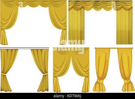 Yellow curtains on white background illustration - Stock Photo