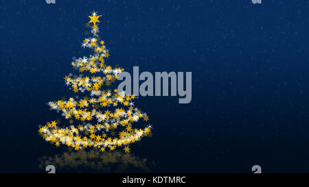 Christmas tree with glittering stars on blue background, blank version; part of a multilingual series - Stock Photo