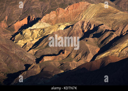 Colours in the mountains of the Quebrada de Humahuaca nr Tilcara, Jujuy Province, Argentina - Stock Photo