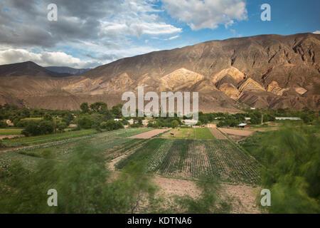 Farmland near Maimará, with the 'Painter's Palette' hills beyond, Quebrada de Humahuaca, Jujuy Province, Argentina - Stock Photo