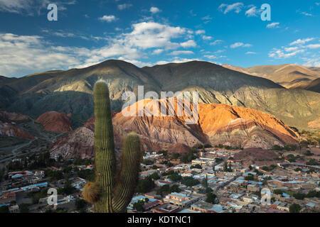 The Cerro de Siete Colores (Hill of Seven Colours) at Purmamarca, Quebrada de Humahuacha, Jujuy Province, Argentina - Stock Photo