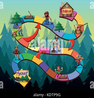 Game template with lumber jack chopping woods illustration - Stock Photo