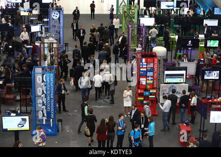 Moscow, Russia. 16th Oct, 2017. People attend the 2017 Open Innovations Forum at the Skolkovo Technopark. Credit: - Stock Photo