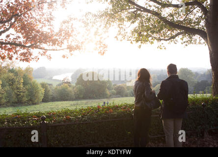 Richmond Hill, London, UK. 15th Oct, 2017. UK Weather. Richmond Hill view towards The Thames and Petersham Meadows - Stock Photo