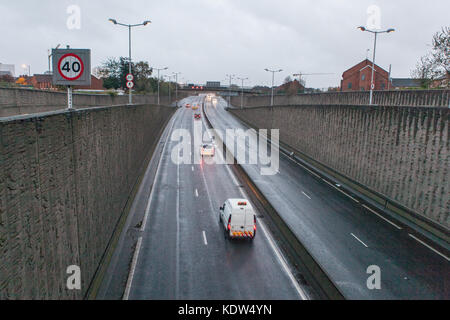 Belfast, UK. 16th Oct, 2017. UK Weather. Traffic on the Westlink heading out of Belfast. Storm Ophelia has felled - Stock Photo