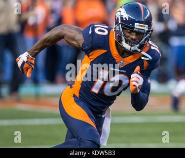 October 15, 2017: Denver Broncos wide receiver Emmanuel Sanders (10) during pre-game warm up of an NFL week 6 matchup - Stock Photo