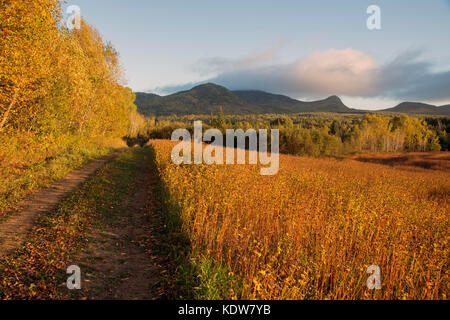 Trail to Mount Eboulements in the Charlevoix Region of Quebec Canada.  Site of an ancient meteor strike and crater. - Stock Photo