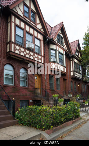 Historic brownstone townhomes in Brooklyn's Prospect Leffert Gardens neighborhood - Stock Photo