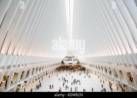 The impressive architecture of the Oculus at the World Trade Center transportation hub in New York city, United - Stock Photo