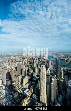 An aerial view of the Manhattan (New York city) skyline from the One World Observatory which is on top of One World - Stock Photo