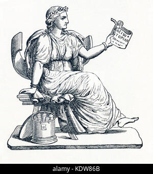 This illustration dates to 1898 and shows Clio, the Muse of history, as prepresented by a statue now  in the Louvre - Stock Photo