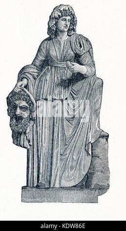 This illustration dates to 1898 and shows the statue of Melpomene in Vatican Museum. Melpomene was honored as the - Stock Photo