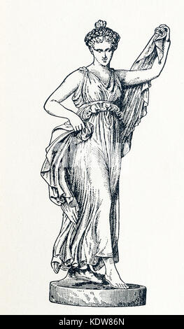 This illustration of Terpsichore dates to 1898. It shows the statue in Florence. Terpsichore was the goddess of - Stock Photo