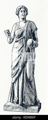 This illsutration of a statue of Urania dates to 1898. The statue is in a Berlin museum. Urania was the Muse of - Stock Photo