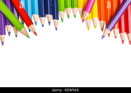 Closeup of Coloured Pencils isolated on white - Stock Photo
