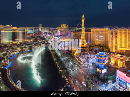 Aerial view of night illumination Las Vegas strip - Stock Photo