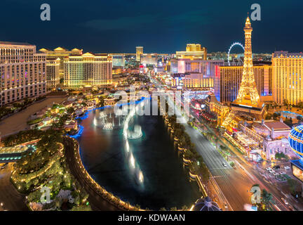 Aerial view of Las Vegas strip at night - Stock Photo