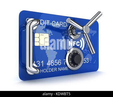 Abstract Credit card safe. 3d illustration - Stock Photo