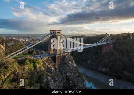 The Clifton Suspension Bridge spanning the Avon Gorge, Bristol, England, UK - Stock Photo