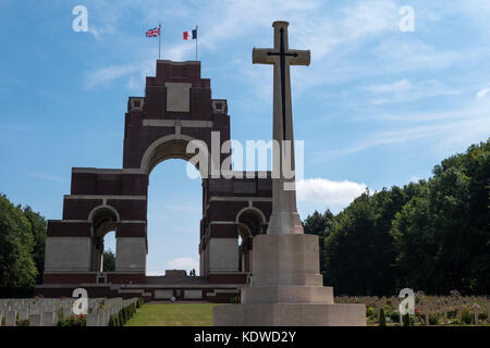 Cemetery and Thiepval Memorial Thiepval Albert Peronne Somme Hauts-de-France France - Stock Photo