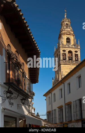 Tower of the old Mosque and typical alley, Cordoba, Region of Andalusia, Spain, Europe - Stock Photo