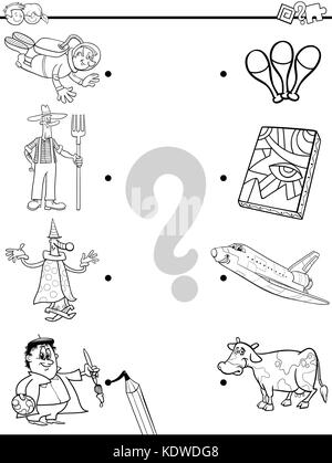 Black and White Cartoon Illustration of Educational Pictures Matching Game for Children with Professional People - Stock Photo