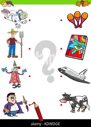 Cartoon Illustration of Educational Pictures Matching Game for Children with Professional People Characters and - Stock Photo