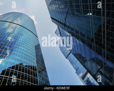 Moscow, Russia - JULY 25, 2016: Low Angle View Of Moscow International Business Center - Stock Photo