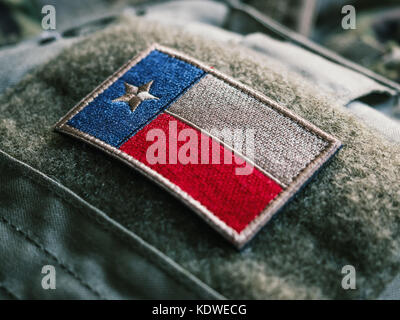 Texas Flag Patch On The Bulletproof Plate Carrier, Shallow Depth Of Field - Stock Photo