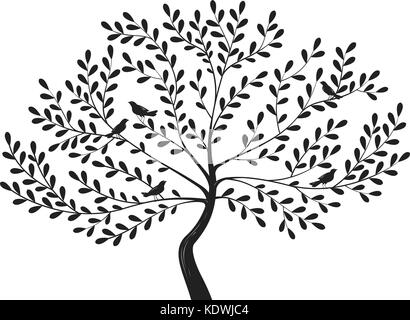 Decorative tree with birds on branches. Silhouette vector illustration - Stock Photo