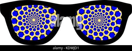 Hypnotic glasses optical illusion - Stock Photo