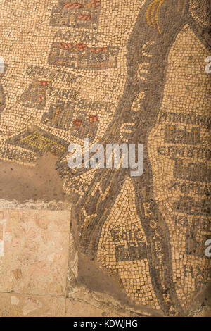 Detail of 6th century Madaba Mosaic Map showing the  Nile River in the floor of a Greek Orthodox Basilica Saint - Stock Photo