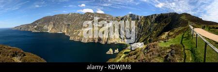 Slieve League, sliabh league, sliabh liag, Sea Cliffs, Donega,landscape, seascape, panorama, panoramic, 600m high, - Stock Photo