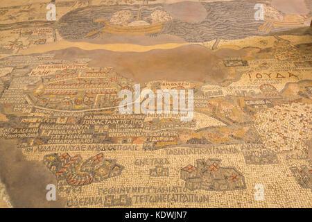 6th century Madaba Mosaic Map showing Jerusalem and the Dead Sea in floor of Greek Orthodox Basilica Saint George, - Stock Photo