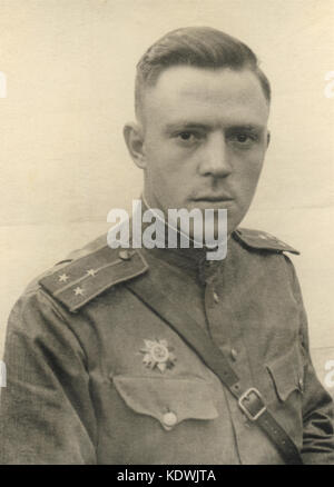 Portrait of the soviet officer with a order in time of WW 2 - Stock Photo