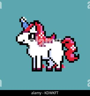 Red unicorn standing on blue background - Stock Photo