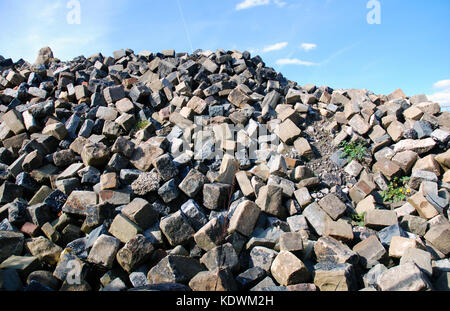 Pile of bricks from demolition of warehouse on Lancaster Quay - Stock Photo