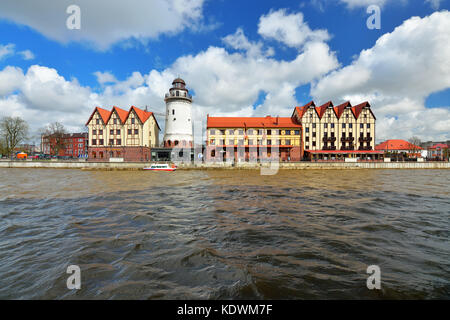 KALININGRAD, RUSSIA - 22 APRIL 2017: The fishing village-the cultural and ethnographic complex, the tourist attraction - Stock Photo