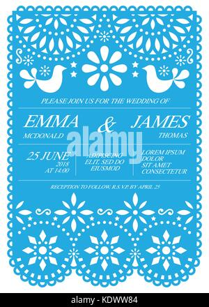 Wedding invitation vector card template - Mexican folk Papel Picado style - Stock Photo