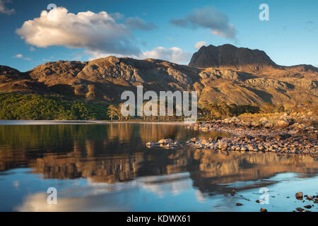 Evening light & perfect reflections on Loch Maree & Slioch, Wester Ross, Scotland - Stock Photo