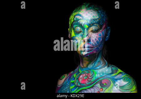 Beautiful body art - Artistic face (front view) - Stock Photo