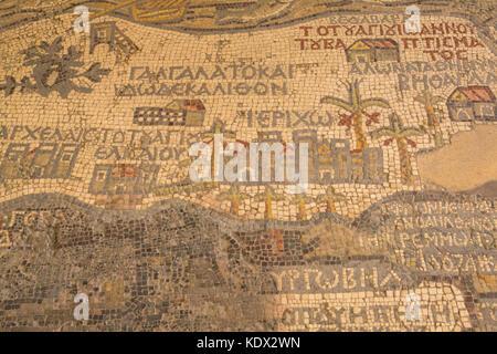 Detail of 6th century Madaba Mosaic Map showing Jericho, in floor of Greek Orthodox Basilica Saint George, Jordan, - Stock Photo