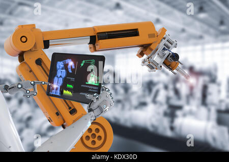 3d rendering cyborg control robot assembly line in car factory - Stock Photo